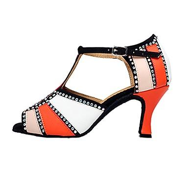 Női Latin cipők Bőr Szandál Otthoni Strasszkő Személyre szabott sarok Dance Shoes Narancssárga / Piros / Zöld