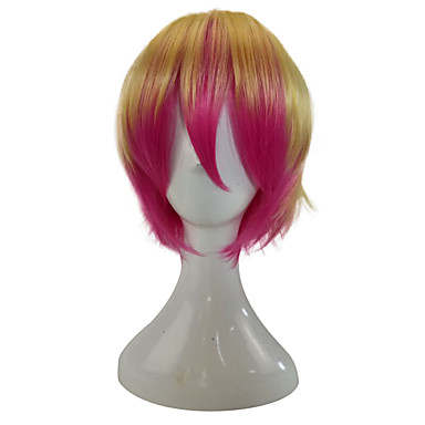 Jelmez parókák / Szintetikus parókák Egyenes Ombre haj Pink / Szőke Női Sapka nélküli Party paróka / Jelmez paróka Rövid Szintetikus haj