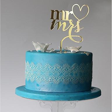 Cake Topper Monogram Plastic Wedding / Party with 1 pcs PVC Bag