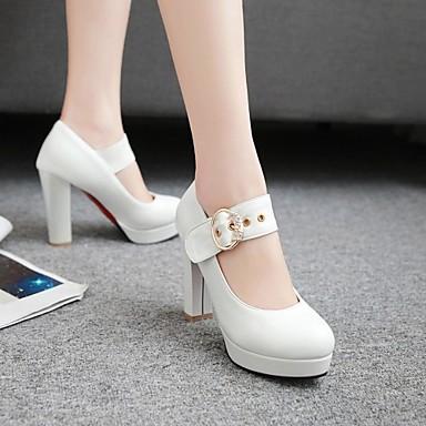 rond Automne Blanc à Chaussures Talons Décontracté pour 06217367 Printemps Bottier Nouveauté Boucle Talon Confort Similicuir Bout Chaussures Femme a7twq1Rq