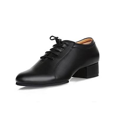 Férfi Modern cipők Bőr Félcipő Vaskosabb sarok Személyre szabható Dance Shoes Fekete