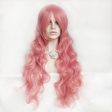 Synthetic Wig Wavy / Deep Wave Pink Asymmetrical Haircut / With Bangs Synthetic Hair Natural Hairline Pink Wig Women's Long Capless