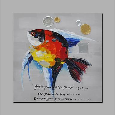 Hang festett olajfestmény Kézzel festett - Állatok Modern Anélkül, belső keret / Hengerelt vászon