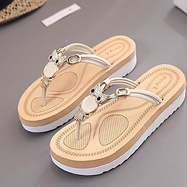 Women's Shoes PU(Polyurethane) Summer Comfort Slippers & Flip-Flops Flat Heel Open Toe Black / Beige / Fuchsia
