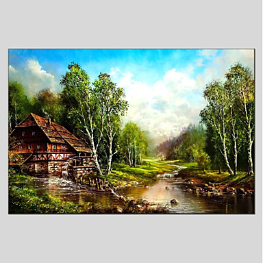 Hang festett olajfestmény Kézzel festett - Landscape Klasszikus Vászon
