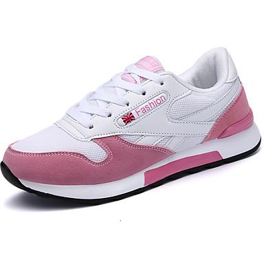 Női Cipő PU Tavasz Ősz Könnyű talpak Kényelmes Sportcipők Lapos Kerek orrú Fűző mert Szabadtéri Rózsaszín és fehér Fehér / Kék Fehér és