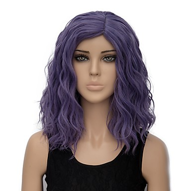 Synthetic Wig Women's Water Wave Purple Synthetic Hair Ombre Hair Purple Wig Short Capless Purple