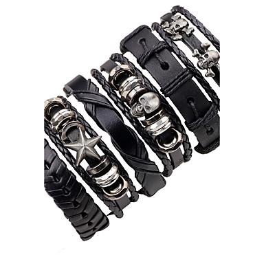 Men's Layered Leather Bracelet - Leather Skull, Star Punk, Hip-Hop Bracelet Black For Stage / Club