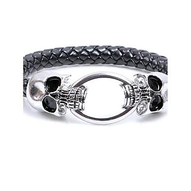 Men's Leather Bracelet - Leather Skull Punk, Rock Bracelet Black For Halloween / Club
