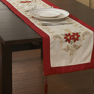 Cotton Blend Square Table Runner Patterned Eco-friendly Table Decorations