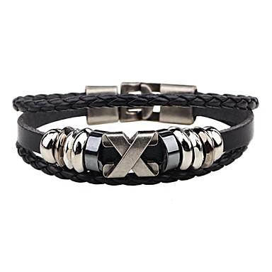 voordelige Herensieraden-Heren Lederen armbanden geweven Alfabetvorm Gepersonaliseerde Hip-hop Roestvast staal Armband sieraden Zwart / Bruin Voor Straat Club