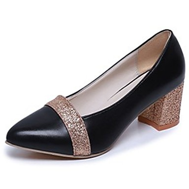 Women's Shoes PU(Polyurethane) Fall Comfort Heels Chunky Heel Pointed Toe Split Joint Gold / Black / Silver