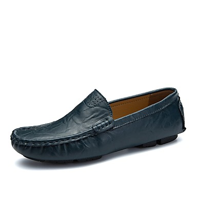 Men's Leatherette / Cowhide Spring / Fall Comfort Loafers & Slip-Ons Black / Green / Light Brown