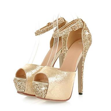 Women's Shoes Sparkling Glitter PU Summer Fall Comfort Novelty Sandals Stiletto Heel Peep Toe Buckle For Wedding Party & Evening
