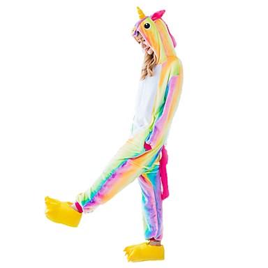 Adults' Kigurumi Pajamas with Slippers Unicorn / Flying Horse Onesie Pajamas Costume Flannel Fabric Rainbow Cosplay For Animal Sleepwear Cartoon Halloween Festival / Holiday / Christmas