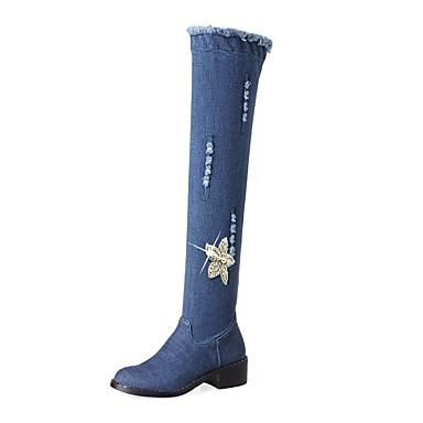 Women's Shoes Denim Fall / Winter Cowboy / Western Boots Boots Chunky Heel Round Toe Knee High Boots Rhinestone / Zipper Blue