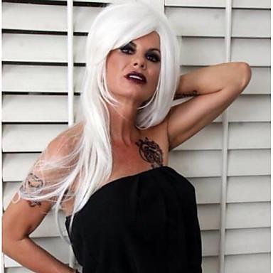 Szintetikus parókák Egyenes Bretonnal Szintetikus haj Fehér Paróka Női Hosszú Sapka nélküli Fehér