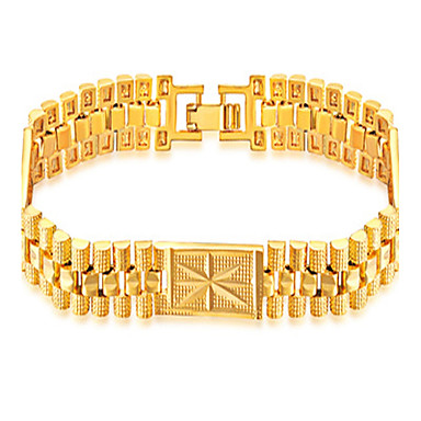 Men's Geometric Chain Bracelet / Bracelet - Stainless Steel, Gold Plated Fashion, Hip-Hop Bracelet Gold For Daily / Casual