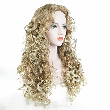 Synthetic Wig Curly Blonde Synthetic Hair Blonde Wig Women's Long Capless
