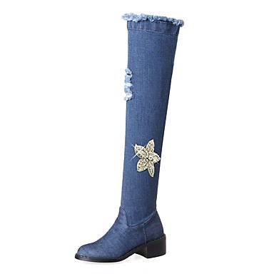 a2ee3729d8a Women s Shoes Denim Fall   Winter Cowboy   Western Boots Boots Chunky Heel Round  Toe Knee High Boots Rhinestone   Zipper Blue   Party   Evening