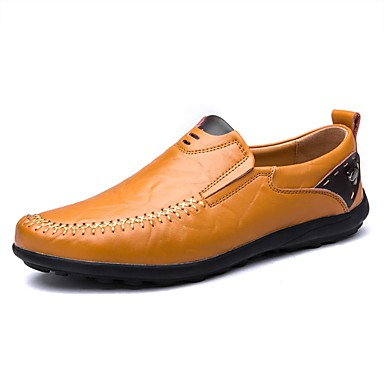 Men's Leatherette Spring / Fall Comfort Loafers & Slip-Ons Black / Yellow / Brown