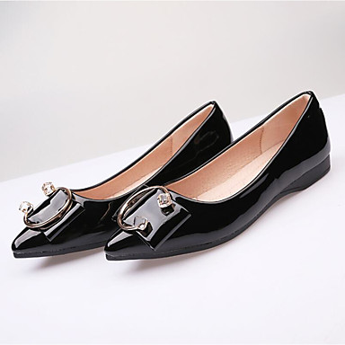 b281a4f467ffa7 Women s Shoes Patent Leather Summer   Fall Moccasin Flats Flat Heel Pointed Toe  Rhinestone Gray