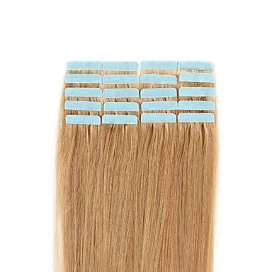 voordelige Extensions van echt haar-Febay Tape-in Extensions van echt haar Klassiek Echt haar Extentions van mensenhaar Nano Dames Blonde