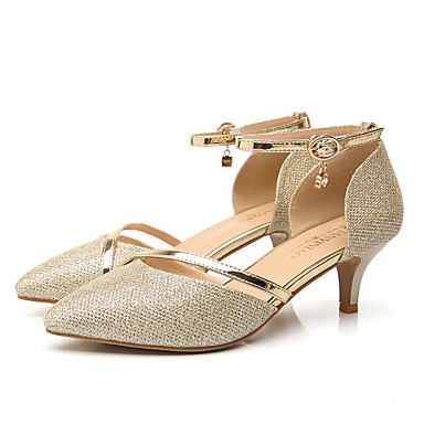 Women's Shoes Leatherette Spring / Summer Comfort Heels Stiletto Heel Pointed Toe Sequin Gold / Silver / Party & Evening