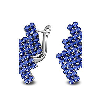 Női Kristály Ezüst / Kristály Beszúrós fülbevalók - Divat / minimalista stílusú Fehér / Kék Geometric Shape Fülbevaló Kompatibilitás Napi