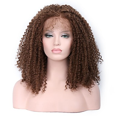 Synthetic Lace Front Wig Kinky Curly With Baby Hair Synthetic Hair Middle Part Sew in / 100% kanekalon hair Brown Wig Women's Medium Length Lace Front