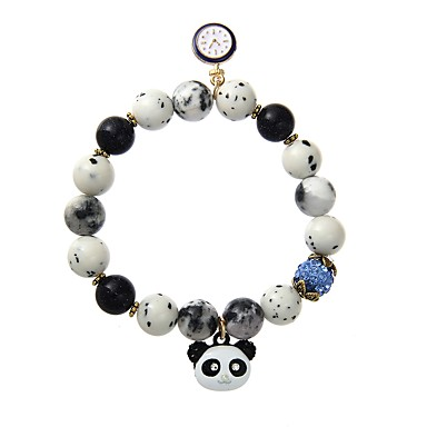 billige Motearmbånd-Herre Dame Perlearmbånd geometriske Panda Dyr Legering Armbånd Smykker Svart / Regnbue / Rosa Til Formell Klubb