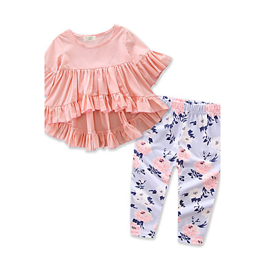 Toddler Girls' Floral / Dresswear Solid Colored / Floral Print Half Sleeve Regular Regular Cotton / Polyester Clothing Set Pink 2-3 Years(100cm)