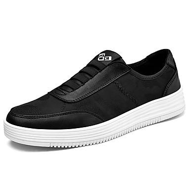 Férfi cipő PU Tavasz Ősz Kényelmes Tornacipők Tépőzár mert Hétköznapi Fehér Fekete