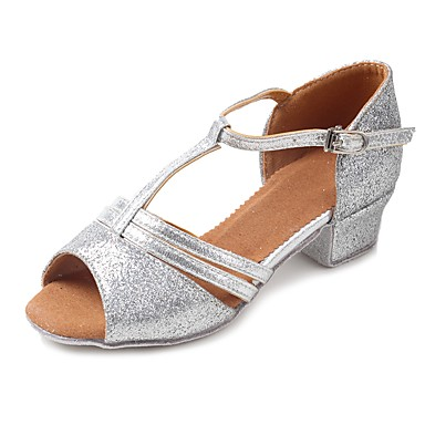 Latin Shoes Sparkling Glitter / Glitter / Leatherette Sandal / Heel Sequin / Sparkling Glitter / Buckle Chunky Heel Customizable Dance