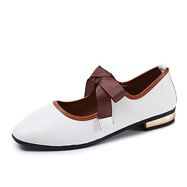 Women's Shoes PU(Polyurethane) Fall Comfort Flats Flat Heel Square Toe Lace-up White / Black / Pink