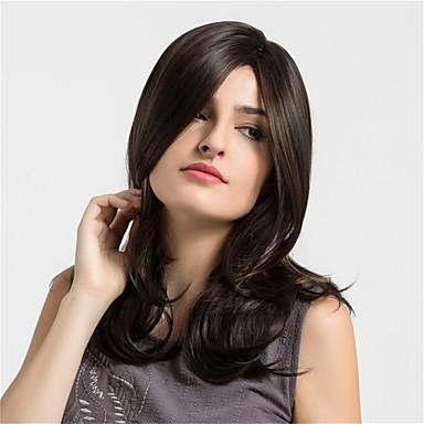 Synthetic Wig Natural Wave Synthetic Hair African American Wig Brown Wig Women's Medium Length Capless Dark Brown / Medium Auburn