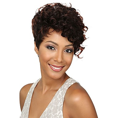Synthetic Wig Curly Pixie Cut / Asymmetrical Haircut Synthetic Hair African American Wig Brown Wig Women's Short Capless