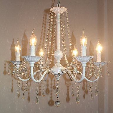 6-Light Chandelier Ambient Light - Crystal, Candle Style, 110-120V / 220-240V Bulb Not Included / 10-15㎡ / E12 / E14