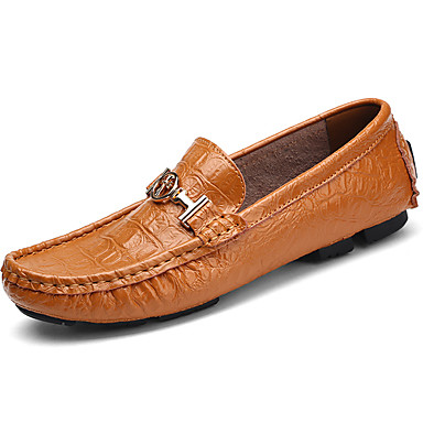 Men's Moccasin Nappa Leather Fall / Winter Loafers & Slip-Ons Black / Brown / Blue / Party & Evening