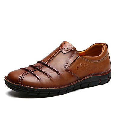 Férfi cipő Nappa Leather Tavasz Ősz Kényelmes Papucsok & Balerinacipők Kombinált mert Hétköznapi Party és Estélyi Világosbarna Sötétbarna