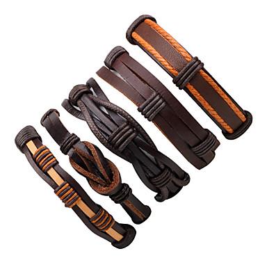 voordelige Herensieraden-Heren Wikkelarmbanden Lederen armbanden Siernagel Gedraaid geweven Punk Modieus Leder Armband sieraden Bruin Voor Straat Uitgaan