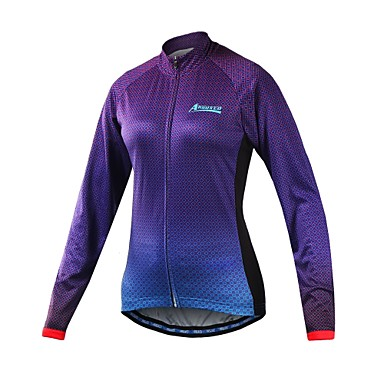 Arsuxeo Women's Long Sleeve Cycling Jersey - Purple Gradient Bike Jersey, Reflective Strips 100% Polyester / Stretchy