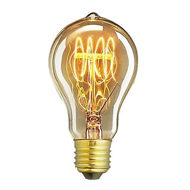 billige Elpærer-1pc 60W E26/E27 A60(A19) Varm hvit 2200-2700 K Kontor / Bedrift Mulighet for demping Dekorativ Glødende Vintage Edison lyspære 220V-240V