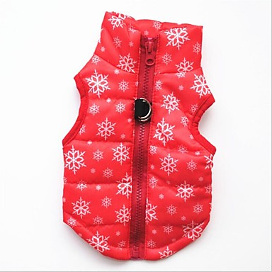 Cat Dog Vest Dog Clothes Snowflake Black Red Cotton Costume For Pets Casual/Daily Keep Warm Christmas