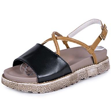 Women's PU(Polyurethane) Summer Comfort Sandals Flat Heel Peep Toe Black / Beige