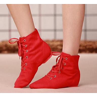 저렴한 Shall We® 댄스 신발-여성용 댄스 신발 캔버스 플랫 / 힐 블랙 / 레드 / 연습용 / EU39