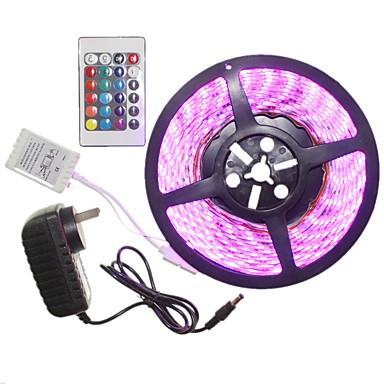 SENCART 5 m Világítás készletek 300 LED 5050 SMD RGB Távirányító / Cuttable / Tompítható 100-240 V 1set / IP65 / Összekapcsolható / Öntapadós / Színváltós