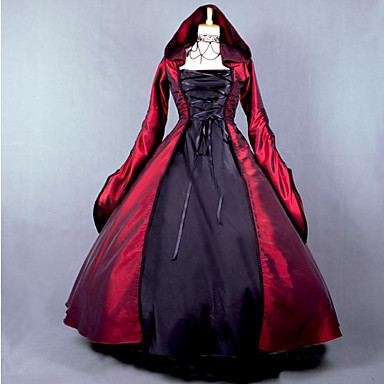 Capes / Gothic / Medieval Costume Women's Dress / Party Costume / Masquerade Red Vintage Cosplay Plain Sateen Long Sleeve Puff Balloon Floor Length Halloween Costumes