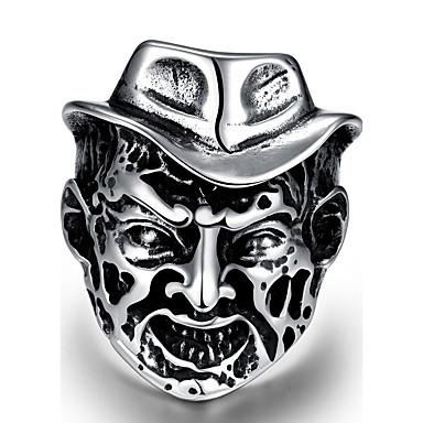voordelige Herensieraden-Heren Knokkelring Zilver Roestvast staal Legering Geometrische vorm Gepersonaliseerde Punk Halloween Straat Sieraden meetkundig Schedel