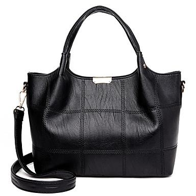 Women's Bags PU(Polyurethane) Tote Zipper Red / Gray / Purple